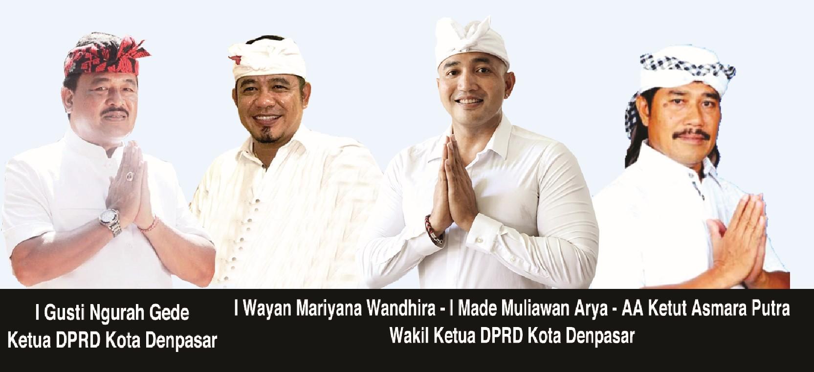 Dari kiri ke kanan :Ketua DPRD Kota Denpasar I Gusti Ngurah Gede, Wakil Ketua I Wayan Mariyana Mandhira, Wakil Ketua I Made Mulyawan Arya dan Wakil Ketua AA Ketut Asmara Putra.