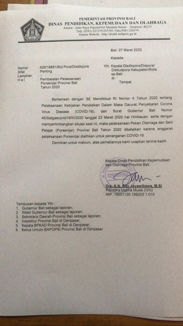 SURAT pembatalan pelaksanaan Porsenijar Provinsi Bali 2020. Foto: istimewa