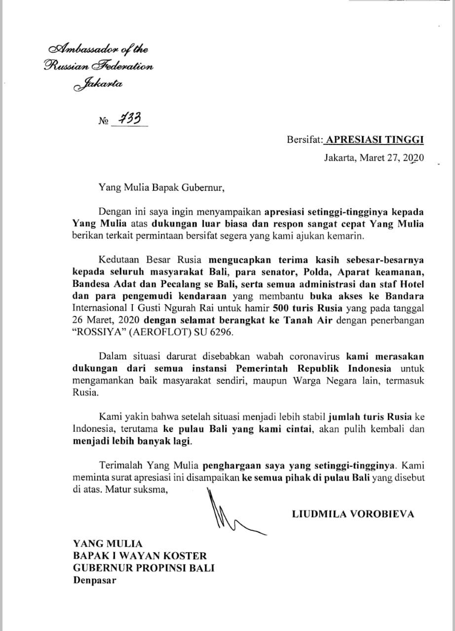 SURAT tertanggal Jumat (27/3/2020), yang ditandatangani Duta Besar Rusia, Liudmila Vorobieva menyampaikan terima kasih kepada Gubernur Bali I Wayan Koster, terhadap kelancaran proses perjalanan kepulangan sekitar 500-an WNA Rusia. Foto: istimewa