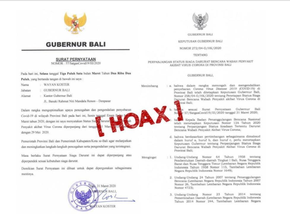 DINAS Komunikasi, Informasi, dan Statistik (Diskominfos) Provinsi Bali akhirnya merilis bahwa Surat Pernyatan dan Keputusan Gubernur Bali tentang Perpanjangan Status Darurat Bencana yang beredar di masyarakat adalah hoak alias berita bohong. Foto: istimewa