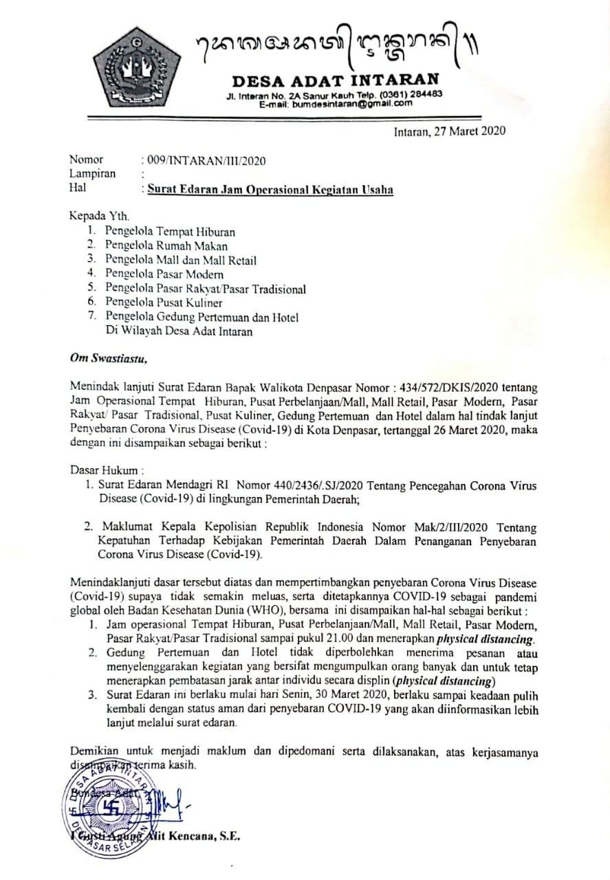Surat Edaran Desa Adat Intaran Batasi Jam Operasional Kegiatan Usaha Sampai Pukul 21.00 Wita