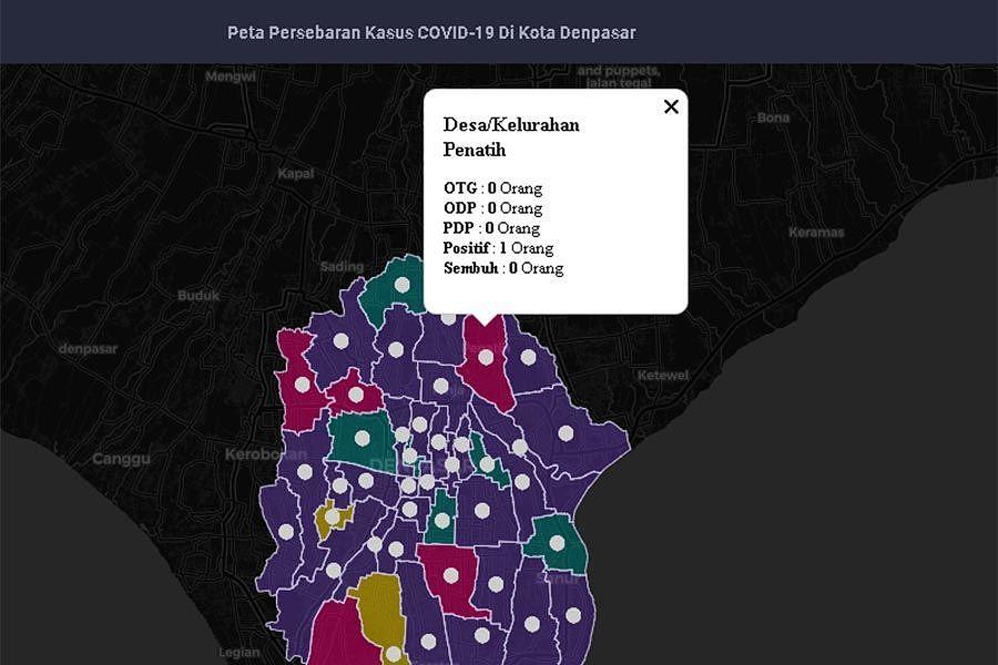 TANGKAPAN layar pemetaan kasus COVID-19 di Desa/Kelurahan Penatih. Foto: ist