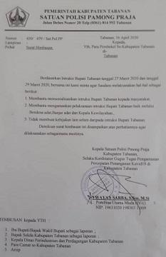 SURAT Imbauan Kasatpol PP Tabanan selaku Koordinator Gugus Tugas Pengamanan Percepatan Penanganan Covid-19 di Kabupaten Tabanan kepada perbekel se-Kabupaten Tabanan. Foto: ist