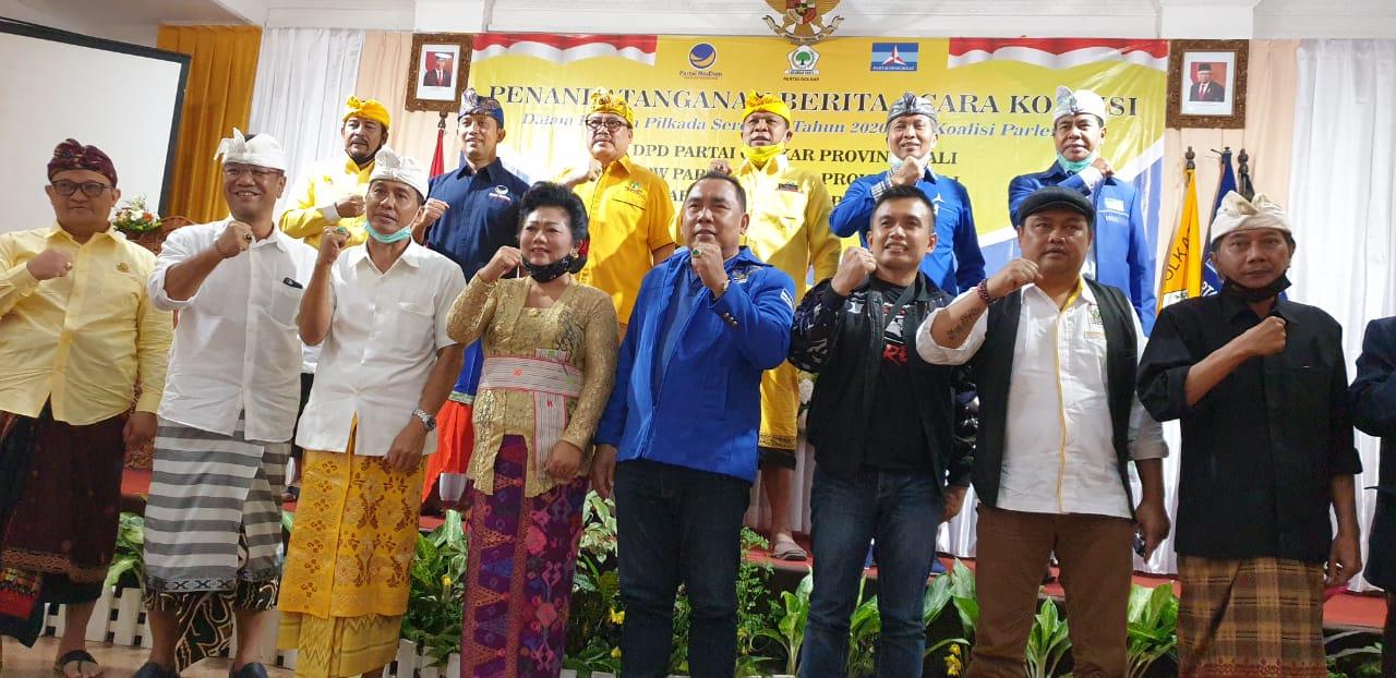 PARA calon kepala daerah dari koalisi Golkar, Nasdem, dan Demokrat foto bersama usai penandatanganan kesepakatan koalisi ketiga partai untuk tingkat Provinsi Bali, Sabtu (25/7/2020). Foto: gus hendra