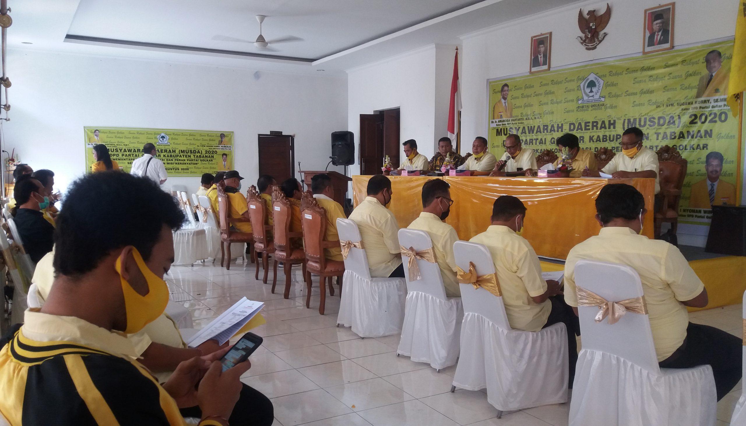 MUSDA DPD Partai Golkar Tabanan di Gedung DPD Partai Golkar Tabanan, Sabtu (8/8/2020) mengesahkan I Nyoman Wirya sebagai ketua terpilih DPD Partai Golkar Tabanan periode 2020-2025. Foto: gagah