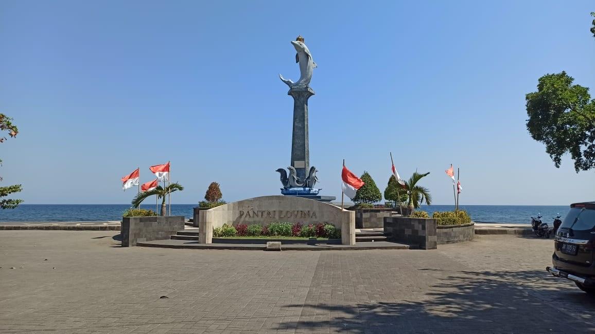 Foto : PANTAI LOVINA KONDISI Wisata pantai Lovina di Desa Kalibukbuk, Buleleng yang tampak sepi pengunjung. Foto: ist