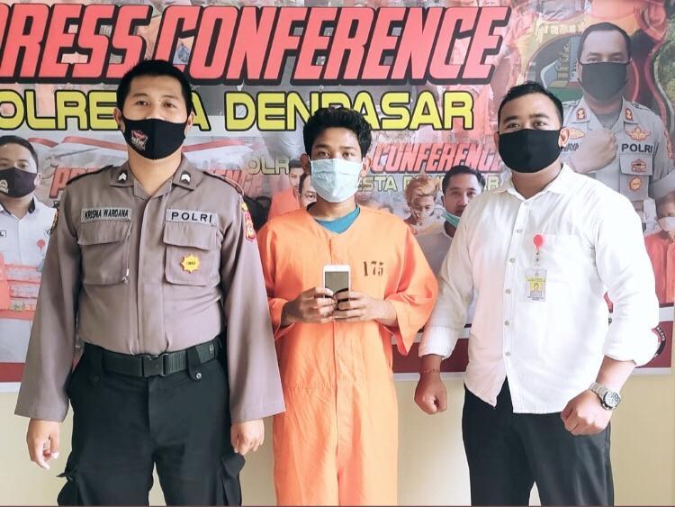 TERSANGKA Gede Bagus Surya Adinata (20) diringkus jajaran Satreskrim Polresta Denpasar. Foto: eri