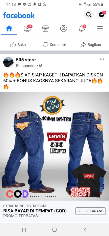 Foto : Inilah contoh-contoh akun penipu tersebut di medsos FaceBook dan contact person para sales saat konsumen ingin memesan jeans LEVI'S palsu yang mereka tawarkan di FaceBook.
