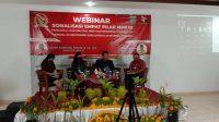 ANGGOTA MPR RI, IGA Rai Wirajaya, dalam webinar sosialisasi empat pilar MPR RI secara virtual dari gedung Gerakan Pramuka Kwartir Daerah Bali, Renon, Denpasar, Minggu (20/9). Foto: ist