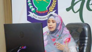 WAGUB NTB, Dr. Hj. Sitti Rohmi Djalillah, saat mengikuti FGD secara virtual bersama SKSG Universitas Indonesia dan para peneliti, Rabu (30/9/2020). Foto: ist