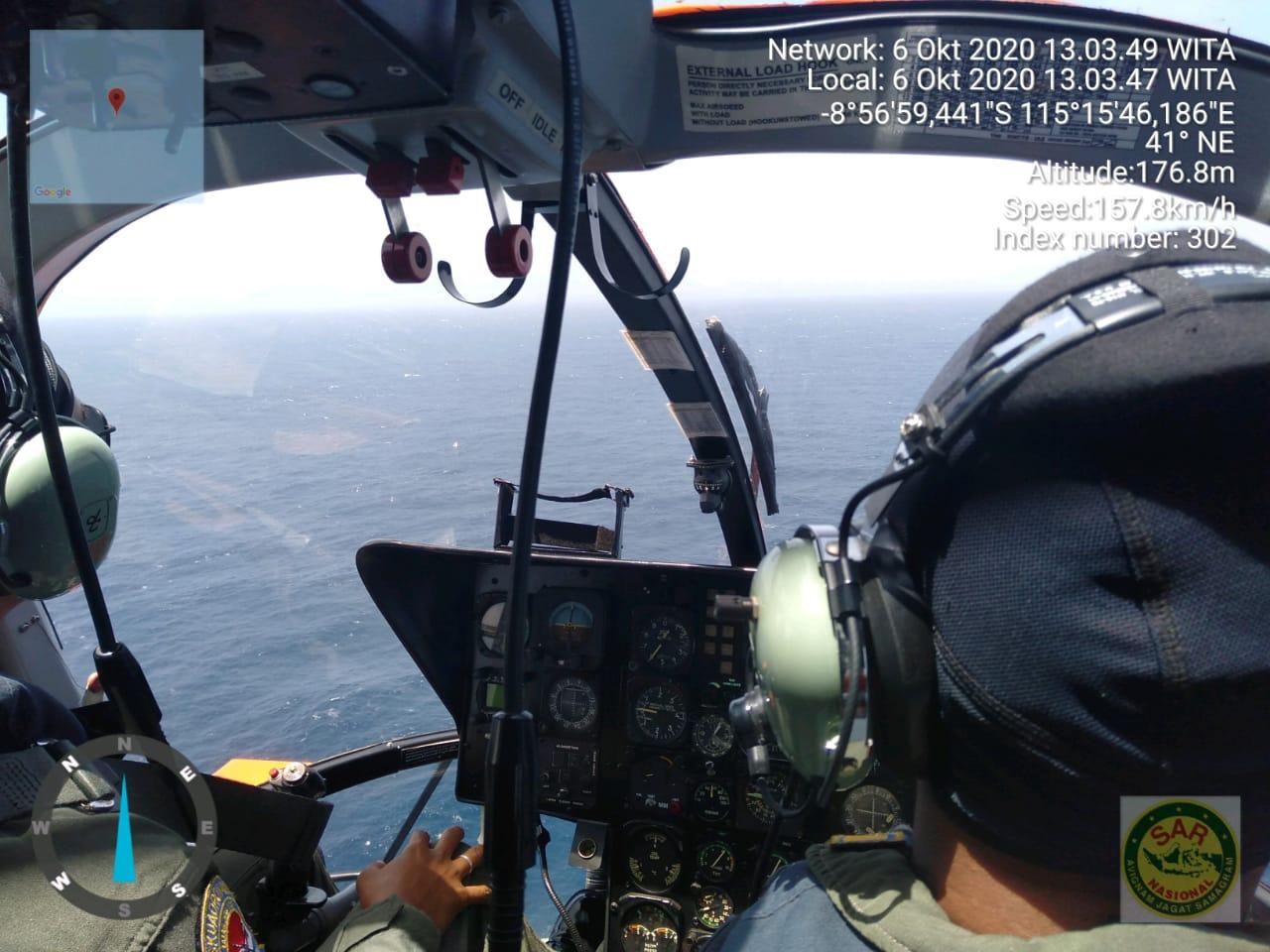 KANTOR Pencarian dan Penyelamatan Denpasar (Basarnas Bali) mengerahkan helikopter dan KN SAR Arjuna, untuk melakukan pencarian hilangnya kapal ikan yang memuat 12 POB, Selasa (6/10/2020). Foto: ist