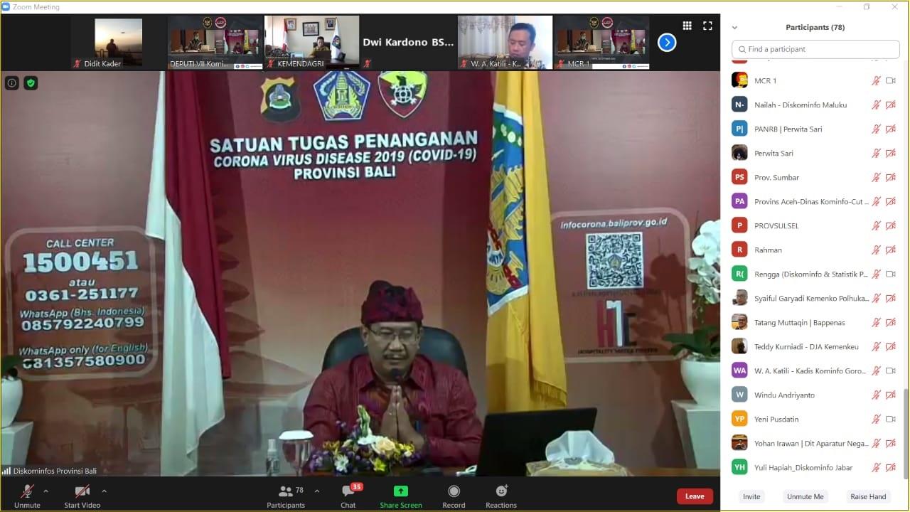 GEDE Pramana saat memaparkan SPBE melalui aplikasi zoom meeting. Foto: ist