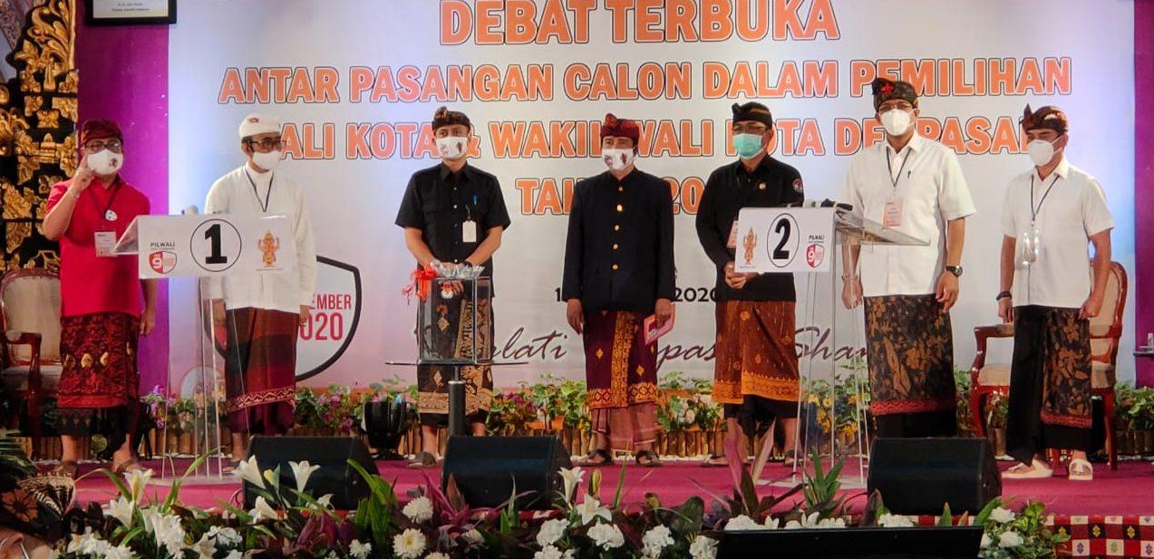 SUASANA saat debat kandidat Pilkada Denpasar 2020 di Hotel Grand Bali Beach Sanur, Sabtu (11/10/2020) malam. Foto: Ist