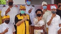 SUGAWA Korry bersama IGA Mas Sumatri-Made Sukerana saat evaluasi Pilkada Karangasem. Foto: Ist
