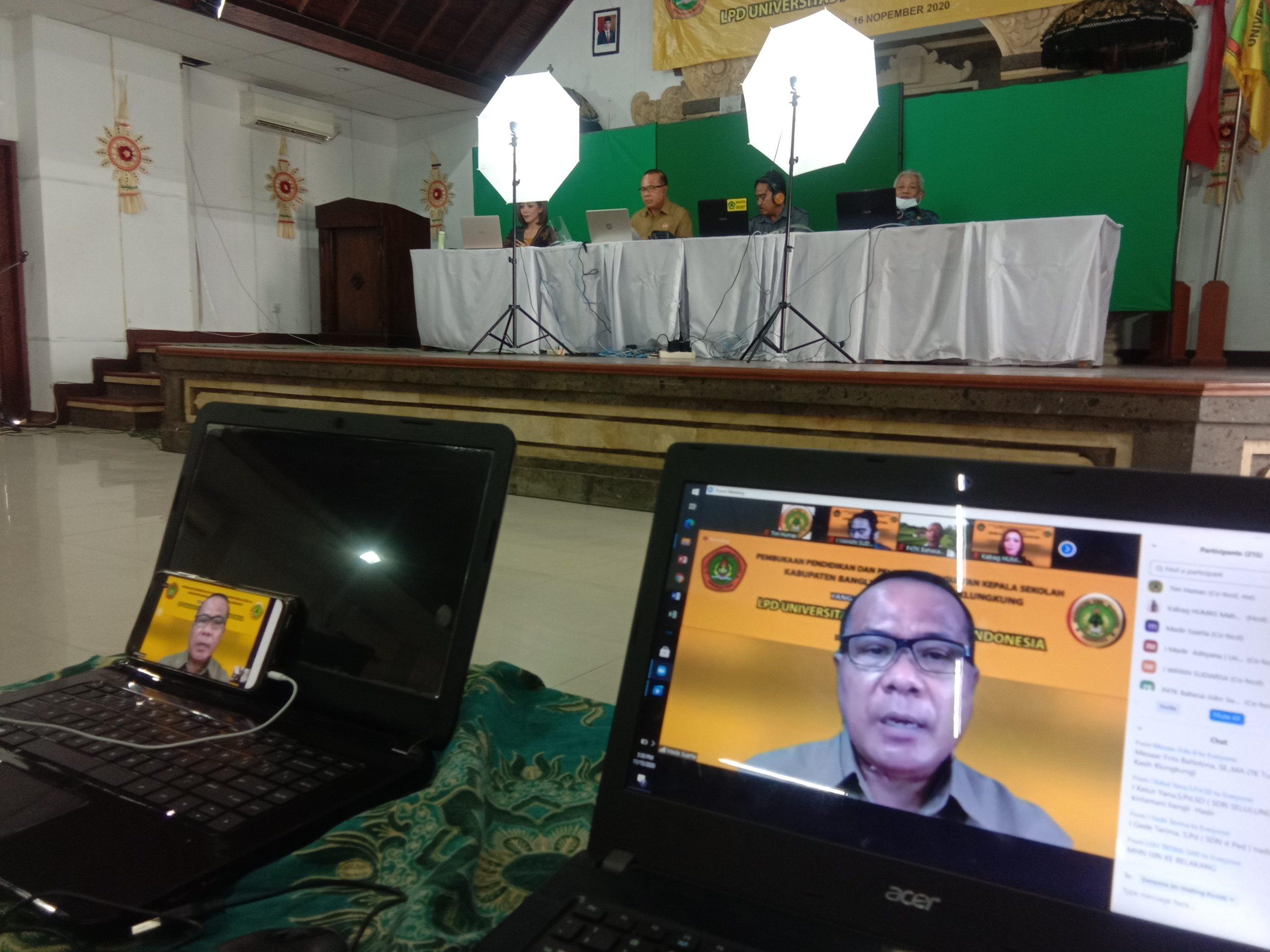 REKTOR Made Suarta saat memberi arahan dalam diklat penguatan kasek yang dilakukan secara daring dari Auditorium Redha Gunawan, Senin (16/11/2020). Foto: alt.