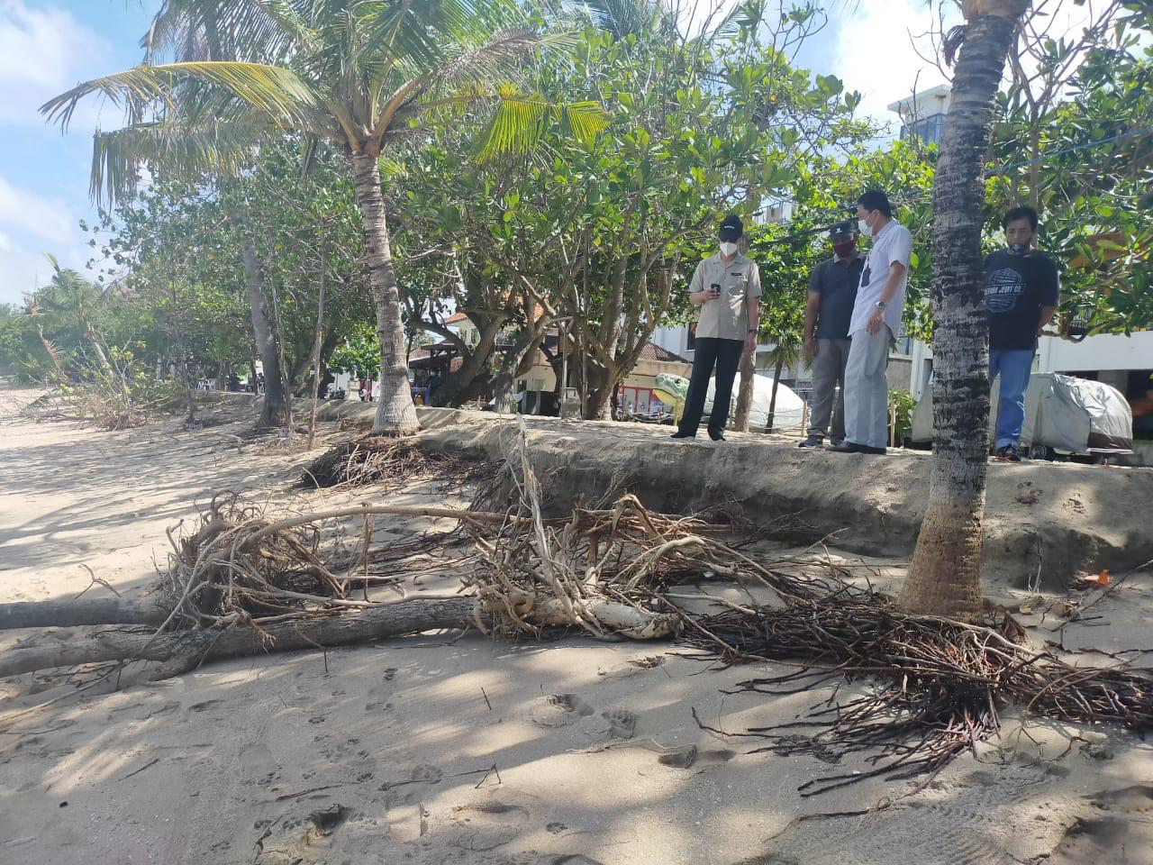 KADIS PUPR Badung, IB Surya Suamba, bersama staf saat meninjau kondisi abrasi di Pantai Kuta. Foto: ist
