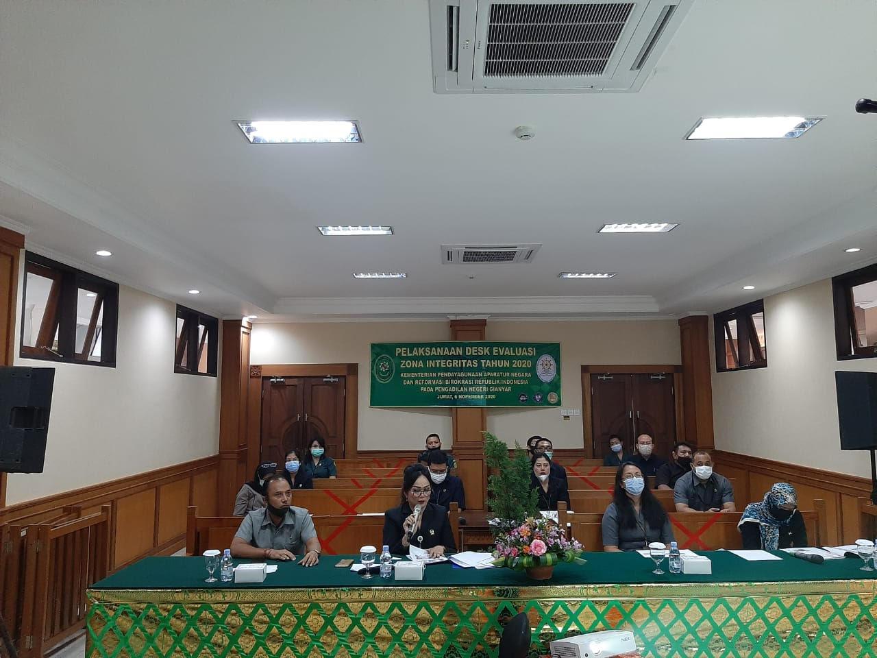DESK evaluasi pembangunan Zona Integritas di Pengadilan Negeri Gianyar. Foto: ist