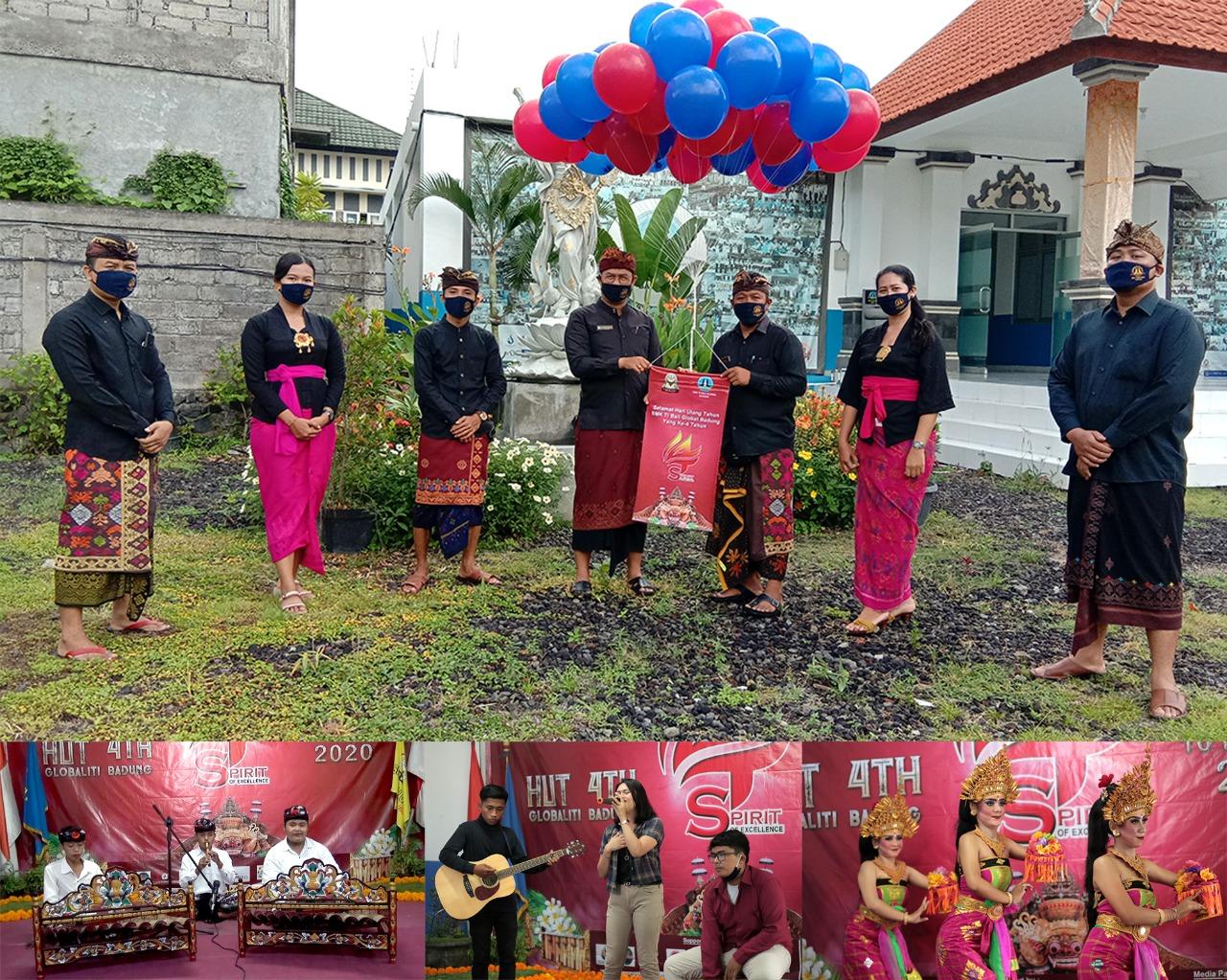 PUNCAK HUT ke-4 SMK TI Bali Global Badung ditandai dengan pelepasan balon oleh Kasek I Made Indra Aribawa; didampingi para wakasek, Selasa (10/11/2020). Foto: ist