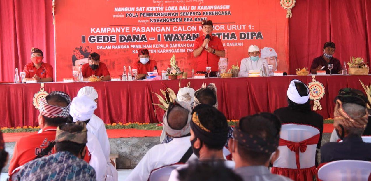 DANA-Dipa saat kampanye di Pedahan, Desa Tianyar Tengah, Kubu, Karangasem. Warga bertekad memenangkan paslon nomor urut 1 sebesar 75 persen dalam Pilkada Karangasem 2020. Foto: Ist
