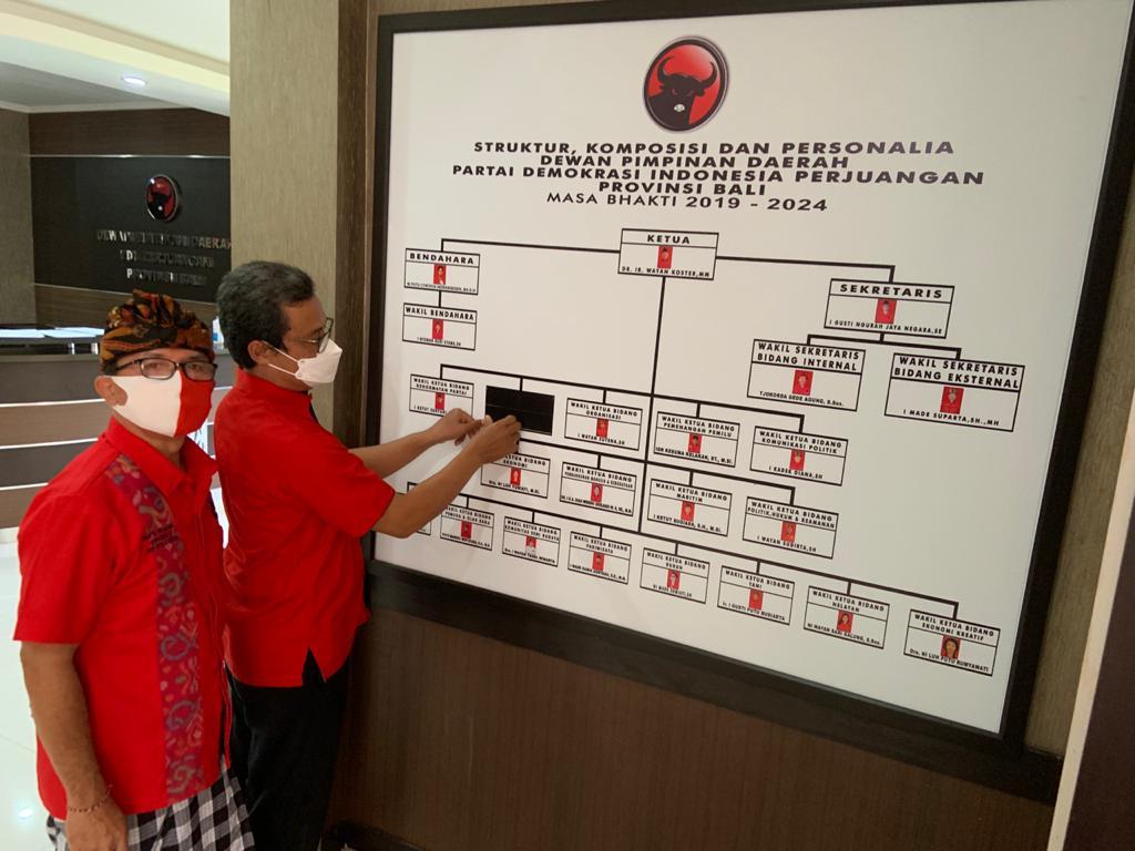 MADE Suparta (kiri) bersama IB Kresna Dana memeriksa papan struktur partai yang diplester hitam di bagian nama, foto dan jabatan Made Gianyar setelah resmi dipecat, Kamis (4/12/2020). Foto: hen