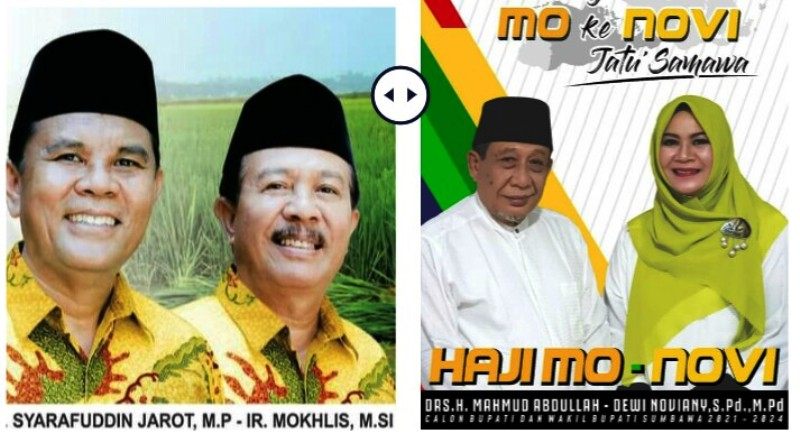 PASLON Jarot-Mokhlis dan Mo-Novi yang bersaing ketat dan saling klaim kemenangan di Pilkada Sumbawa. Foto: fahrul