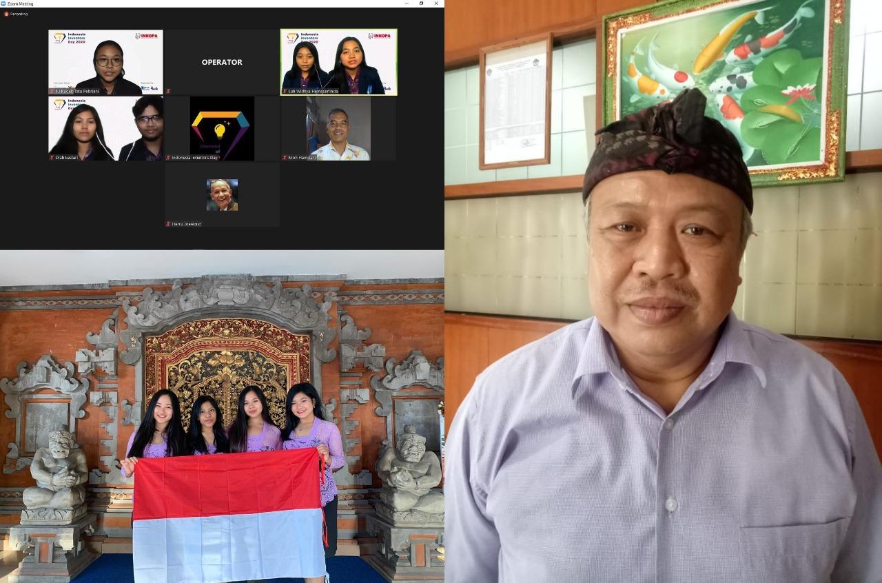 KEPALA SMAN 2 Denpasar, Ida Bagus Sueta Manuaba, serta siswa yang sukses mengukir prestasi juara internasional. Foto: ist