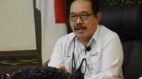 WAGUB Bali Cok Ace saat mengikuti RDP bersama BLUD Dewan Perwakilan Daerah (DPD) RI Tahun 2021 secara virtual di ruang kerjanya, Rabu (20/1/2021). Foto: ist