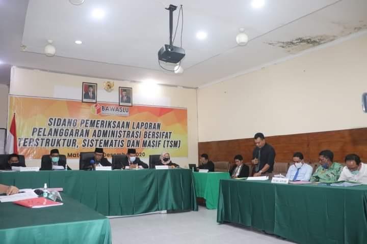 SIDANG dugaan pelanggaran TSM Pilkada Sumbawa yang disidangkan Bawaslu NTB. Foto: rul