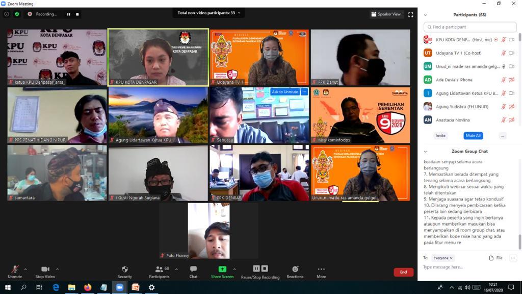 WEBINAR oleh KPU Denpasar mengundang akademisi dan para mahasiswa sebagai pemilih milenial untuk sosialisasi serta edukasi Pilkada 2020, beberapa waktu lalu. Foto: ist