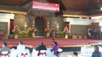 "BULAN Bahasa Bali Kabupaten Gianyar Tahun 2021 dengan tema ""Wana Kerthi Sabdaning Tahu Mahottama"" digelar di Balai Budaya Gianyar, Senin (8/2/2021). Foto: adi"