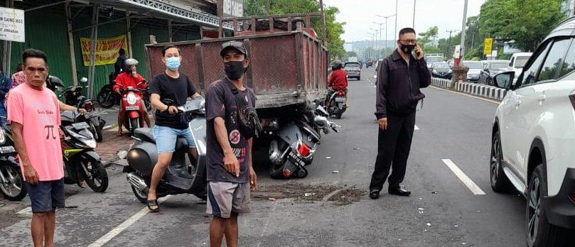 KECELAKAAN yang terjadi di Jalan Bypass Ngurah Rai, Jimbaran, Kuta Selatan, Badung, menewaskan pemotor Arya Agung Dhananjaya (27). Foto: ist