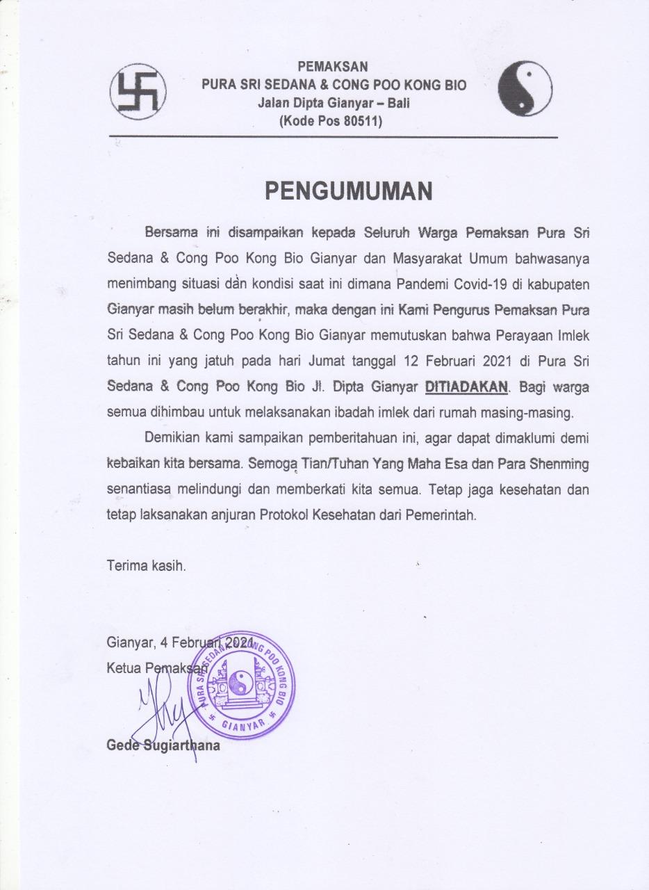 PENGUMUMAN pemaksan Pura Sri Sedana dan Cong Poo Kong Bio Gianyar. Foto: ist