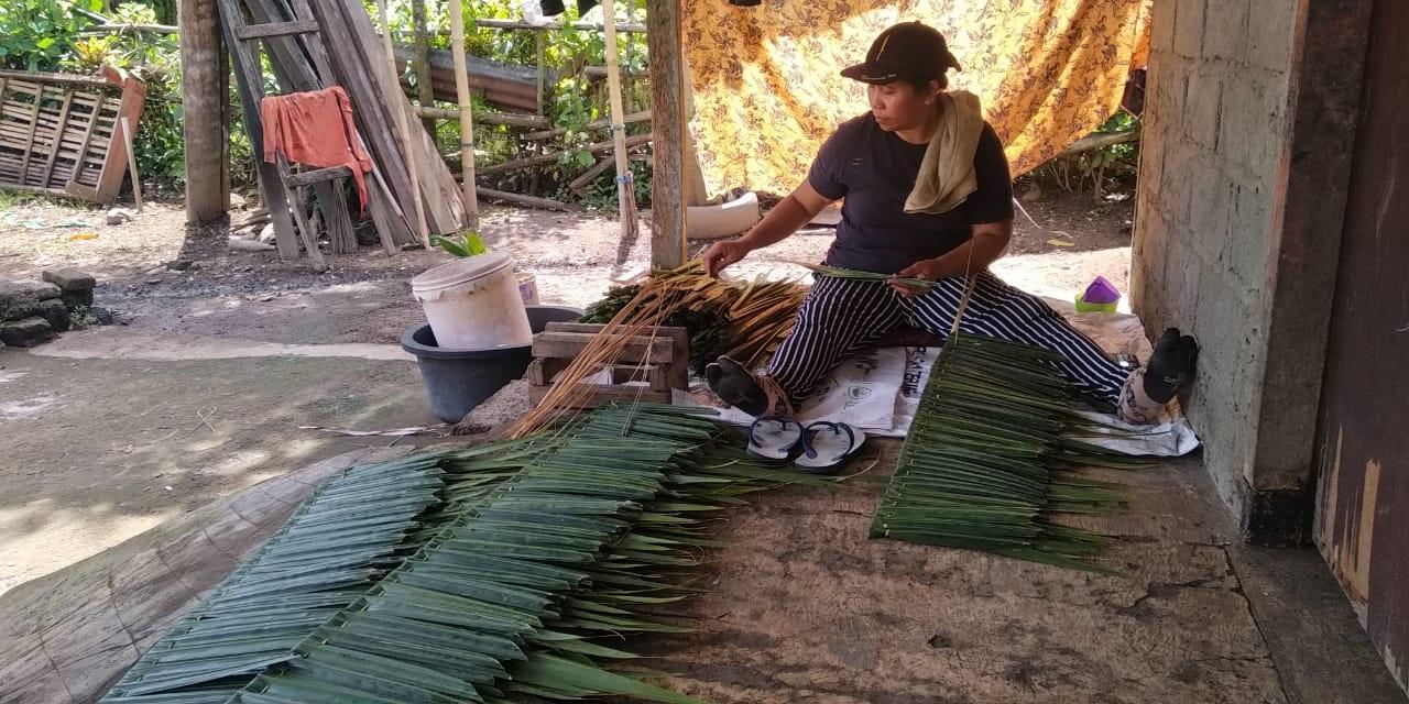 PERAJIN raab buyuk (atap tradisional yang terbuat dari daun nipah) di Lingkungan Samblong, Kelurahan Sangkaragung, Kecamatan Jembrana, Kabupaten Jembrana. Foto: man
