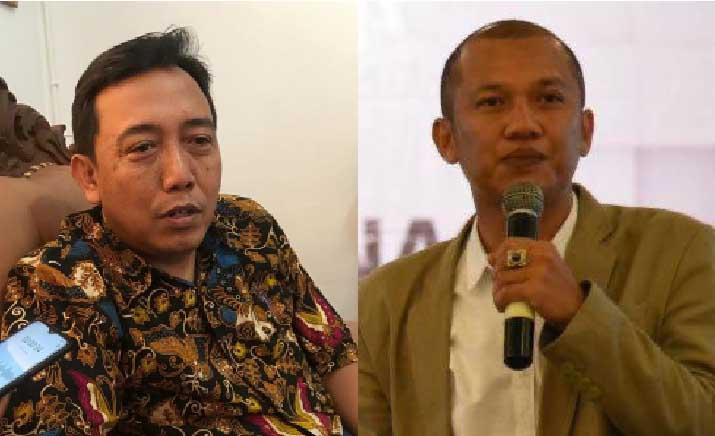 KOMISIONER KPU RI, I Dewa Kade Wiarsa Raka Sandi dan Komisioner KPU Bali, I Gede John Darmawan. Foto: hen