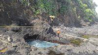 LOKASI tiga pemancing yang hilang di Pantai Mimba, Desa Padangbai, Kecamatan Manggis, Karangasem. Sejak, Sabtu (20/2/2021), pencarian dihentikan. Foto: nad