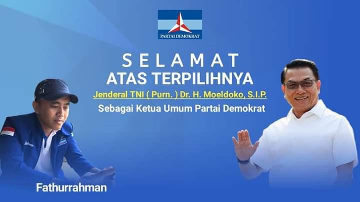 INISIATOR Demokrat NTB, Fathurrahman, saat mengucapkan selamat atas terpilihnya Moeldoko sebagai Ketua Umum DPP Demokrat versi KLB. Foto: rul