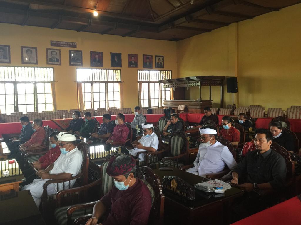 DPRD Bangli merekomendasi terkait refocusing melalui pergeseran anggaran mendahului perubahan APBD 2021 demi penanganan Covid-19. Foto: ist