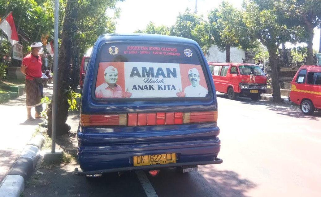 ANGKUTAN siswa gratis Gianyar Aman kembali beroperasi. Foto: adi