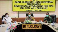 POLRES Buleleng bersama Wakil Bupati Buleleng mengikuti rakor Lintas Sektor Nasional Pengamanan Hari Raya Idul Fitri 1442 Hijriah Tahun 2021 secara daring. Foto: rik