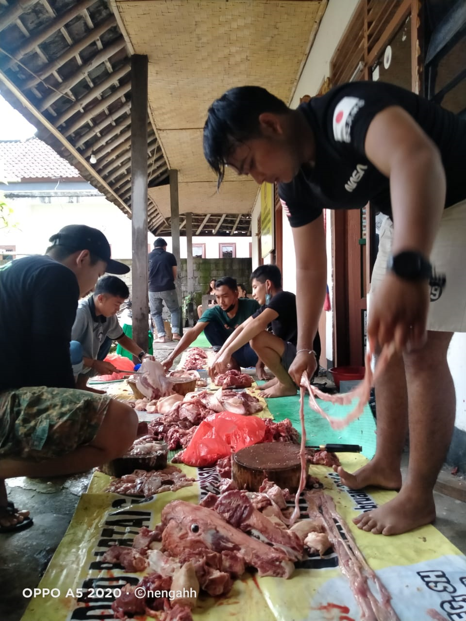 KEGIATAN pemotongan babi yang dilakukan Peradah Karangasem untuk selanjutnya dibagikan kepada warga kurang mampu, Minggu (11/4/2021), menyambut perayaan Galungan. Foto: nad