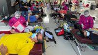 RUMAH Kebangsaan dan Kebhinnekaan Pasraman Satyam Eva Jayate menggelar kegiatan Donor Darah bertepatan dengan Hari Lahir Pancasila, Selasa (1/6/2021). Foto: ist