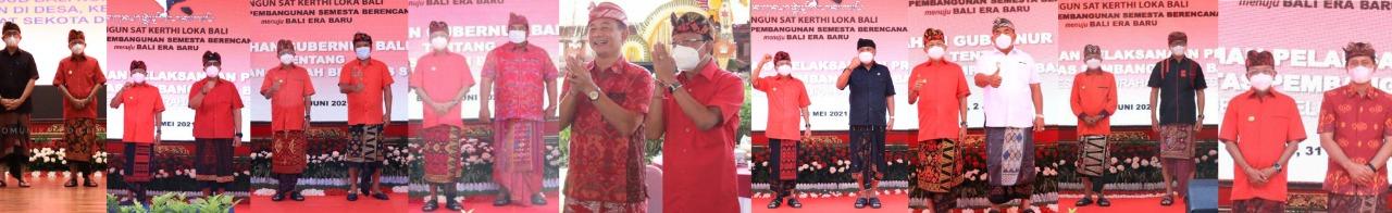 PARA bupati/wali kota se-Bali berfoto dengan Gubernur Koster. Foto: ist