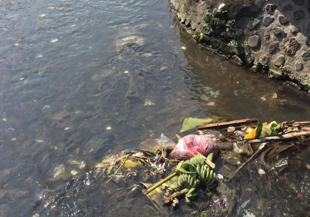 SUNGAI atau Telabah Tebe Utu tercemar sampah dan limbah rumah tangga. Foto: adi