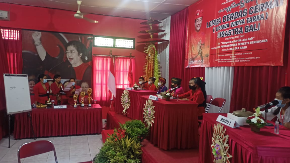 LOMBA cerdas cermat susastra Bali tingkat SD, SMP dan SMA yang digelar PDIP Karangasem serangkaian HUT ke-48 PDIP. Foto: nad
