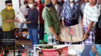 ANGGOTA DPRD NTB, Ruslan Turmudzi, keliling membagikan paket sembako kepada warga terdampak pandemi di dapilnya, Kabupaten Lombok Tengah bagian selatan. Foto: rul