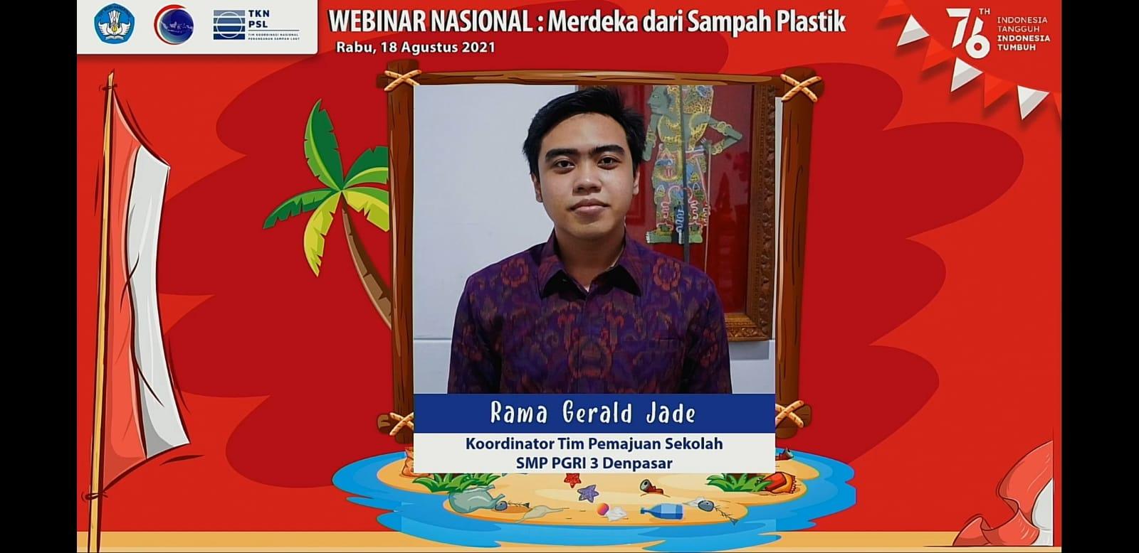 KOORDINATOR tim pemajuan SMP PGRI 3 Denpasar, Rama Gerald Jade, saat menjadi narasumber webinar nasional yang diselenggarakan Tim Kerja Nasional Pengurangan Sampah Laut Kementerian Koordinator Kemaritiman dan Investasi Republik Indonesia, Rabu (18/8/2021). Foto: ist