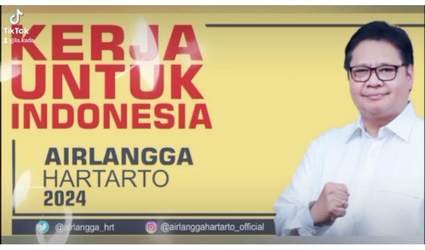 TANGKAPAN layar video TikTok terkait sosialisasi Ketua Umum Partai Golkar, Airlangga Hartarto, kreasi AMPG Bali. Foto: hen