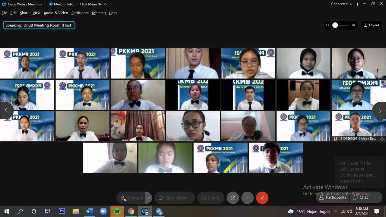 TANGKAPAN layar pembukaan PKKMB Universitas Udayana tahun 2021 yang berlangsung secara daring melalui Aplikasi Webex, Senin (9/8/2021). Foto: ist