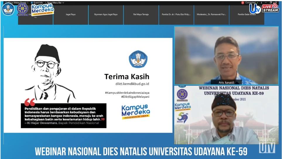 TANGKAPAN layar kegiatan webinar nasional pada Kamis (23/9) yang digelar Unud serangkaian Dies Natalis ke-59. Foto: rap