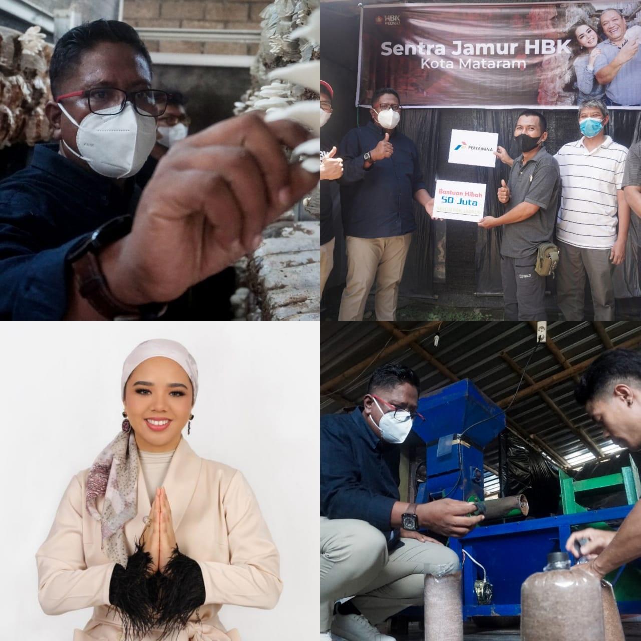 KETUA Yayasan HBK Peduli, Ali Al Khairi, melihat proses pembibitan jamur tiram di Pagutan, Kota Mataram, Sabtu (18/9/2021). Foto: rul